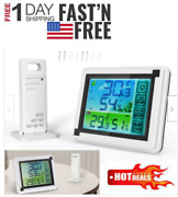 Weather Station Digital Lcd Thermometer Hygrometer Indoor Outdoor Temperature