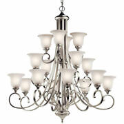 Kichler 43192 Nickel Monroe 16-light 45w Chandelier With Etched Glass Shades