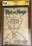 Rick And Morty 1 Blank Cgc Ss 9.8 Signed Justin Roiland Sketch Oni Adult Swim