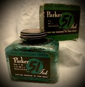 1940s Parker 51 Ink - Pan American Green W/ Original Box - Made In Usa