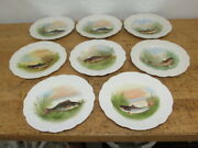 C1890 Lsands Limoges Lazarus Straus And Sons Lot Of 8 France Fish Game Plates 9 In