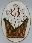 Vintage Oval Ceramic 3 Kittens In A Basket Jello Mold Wall Hanging Kitchen Decor