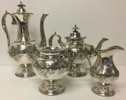 Antique 4 Piece Set With Floral Service Elements English Chiseled England Coffee