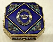 Antique Box With Marquis Crown For Jewelry Chiseled Vermeil Silver And Enamels