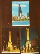Chicago Water Tower Sears Tower Illinois Vintage Postcard Lot Of 3