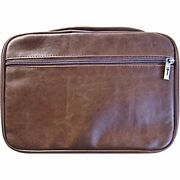 Ex-large Leather Look Zipper Pocket Bible Protect Cover With Handle 10.5x8x2