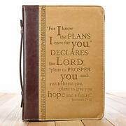 Large Tan Faux Leather Bible Cover For Men/women I Know The Plan Zippered 7x10