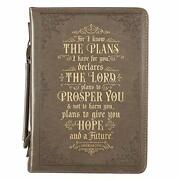 Large Faux Leather Classic Bible Cover I Know The Plans For Men/women 7x10x1.8