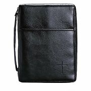 X-large Soft Black Cross Leather Look Bible Cover W/handle Classic 7.2x10.2x2