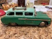 Antique 1955 Plymouth Station Wagon Tin Friction Toy Japan Very Rare