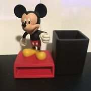 Mickey Mouse Desk Accessory Note Pad And Pencil Holder