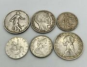 European Silver Coin Lot Qty 6. French Italian Austrian And Canadian.