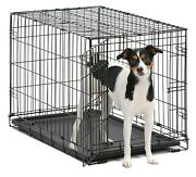 Dog Cage Metal Pet Kennel Folding Tray Large Two Doors Free 2 Day Delivery