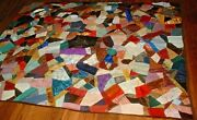 Antique Vintage Early 1900s Victorian Style Crazy Folk-art Patchwork Quilt Wow