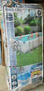 New Bestway 18 Ft X 9 Ft X 48 In Power Steel Frame Above Ground Swimming Pool.