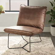 Better Homes And Gardens Pillow Lounge Chair Brown Faux Leather Upholstery