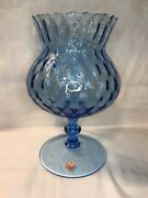 """Empoli Italian Glass 8.5"""" Blue Dimpled Optic Brandy Snifter Compote W/ Sticker"""