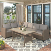 Us Patio Furniture Pe Rattan Wicker Sectional Sofa Set With Tableandsoft Cushions
