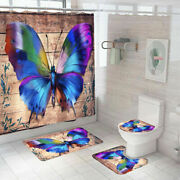 Butterfly Bathroom Rugs Set Shower Curtain Nonslip Toilet Lid Cover Bath Mat New