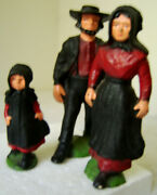 Vintage Cast Iron Metal Lot Of 3 Amish Man Woman Girl Paperweight Figures
