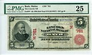 Fr. 587 1902 Red Seal 5 Ch 761 National Bank Note Bath Maine Pmg 25 Vf