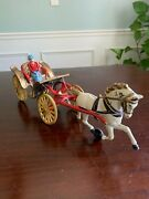 Vintage Cast Iron Horse Drawn Carriage With Rare Lady Driver