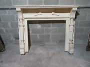Ornate Antique Walnut Fireplace Mantel 60 X 48 With 42 Opening Salvage