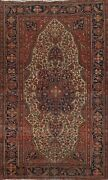 Antique Pre-1900 Sarouk Farahan Vegetable Dye Ivory Hand-knotted Area Rug 4x7 Ft