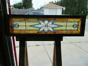 Antique Stained And Beveled Glass Transom Window 48 X 13 Salvage