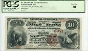 Fr. 488 1882 Bb 10 Ch 2371 National Bank Note Rockland Maine Pcgs 30 Vf