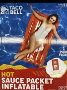 2021 Taco Bell Fire Sauce Packet Inflatable Pool Float New/sealed 30x57.8✨