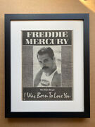 Freddie Mercury I Was Born To Love You Framed Poster Sized Original Music Pres