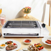 Electric Grill Table Top Bbq Barbecue Indoor/outdoor Smokeless Griddle+pan 2.8kw