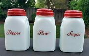 Rare Vintage Mckee Roman Arches Red Lid And Scrip Sugar Shaker White Milk Glass
