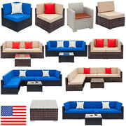 16 Types Indoor Rattan Wicker Sofa Set Sectional Couch Cushioned Furniture Patio