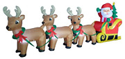 8 Foot Long Christmas Inflatable Santa Claus On Sleigh With 3 Reindeer And Tree