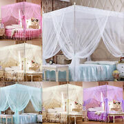 4 Corner Princess Lace Canopy Mosquito Net No Frame For Twin Full King Queen Bed