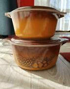 Two Pyrex Old Orchard Casseroles