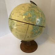Vintage Crams Imperial World Globe On Wood Base Stand Tabletop Decor 12 Inch