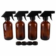 Spray Stream Bottle Amber Glass Trigger Cap Cosmetic Containers Cleaning 4pcs