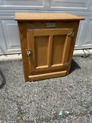 White Clad Vintage Antique Oak Ice Box End Side Table Night Stand