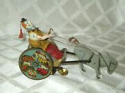 1900's Lehmann Germany- Wind-up Clown- Balky Mule Tin Antique Toy- Org- Drgm