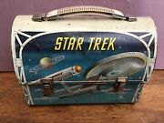 Rare-vintage 1968 Star Trek Dome Metal Lunch Box W/matching Thermos By Aladdin