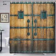 Vintage Farmhouse Gate Decor Brown Fabric Curtains Polyester With Hooks 180cm