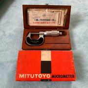 Mitutoyo Outside Micrometer 0-25mm 0.001mm In Wood Box Very Rare, Vintage