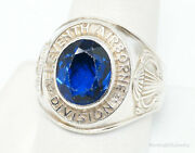 Vintage Eleventh Airborne Devision Sapphire Sterling Silver Ring Sz 10.75