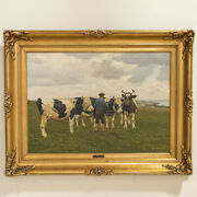 Original Danish Oil On Canvas Painting Of Man With Cows Signed Poul Steffensen