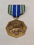 Us Army Medal For Military Achievement Blue White Green Striped Ribbon Octagon