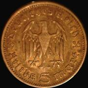 Germany 1935-f 5 Reichmark, Old Silver World Coin