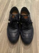 Bally Blue Perforated Leather Fashion Sneakers Trainers Menandrsquos Sz 9 1/2 Us